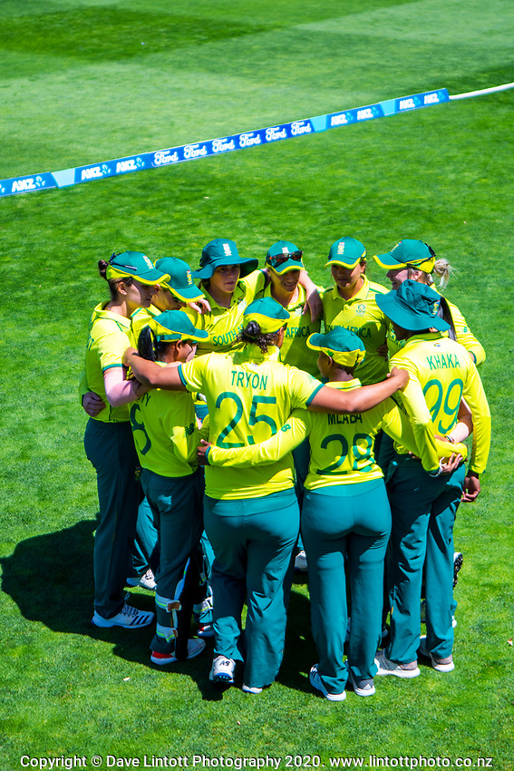 The Proteas huddle before the International Women's Twenty20 Cricket match between the New Zealand White Ferns and South Africa Proteas at Basin Reserve in Wellington, New Zealand on Monday, 10 February 2020. Photo: Dave Lintott / lintottphoto.co.nz