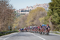 racing in italy = (almost) always a mountaintopped village in sight...<br /> <br /> Stage 6 from Castelraimondo to Lido di Fermo (169km)<br /> <br /> 56th Tirreno-Adriatico 2021 (2.UWT) <br /> <br /> ©kramon