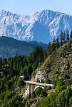 Oesterreich, Salzburger Land, Pongau, Grossarltal: Jungfernsprungtunnel auf der L109, der Alpendorfstrasse, die ins Grossarltal fuehrt, im Hintergrund der Hochkoenig | Austria, Salzburger Land, region Pongau, valley Grossarltal: Jungfernsprung-tunnel at rural road L109, Hoechkoenig mountain at background