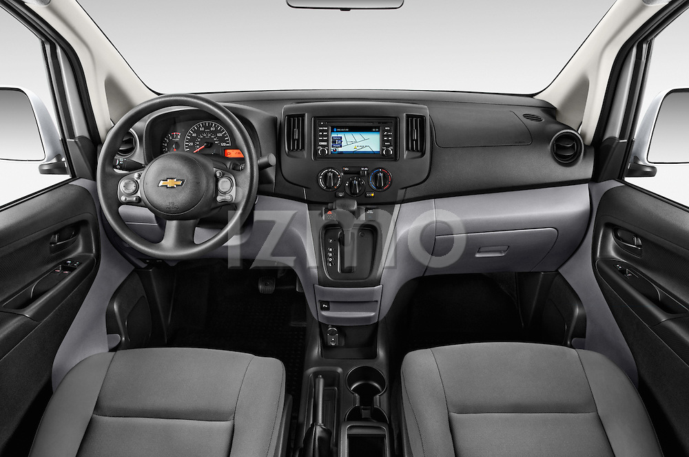 Stock photo of straight dashboard view of2017 Chevrolet City Express LT 5 Door Cargo Van Dashboard