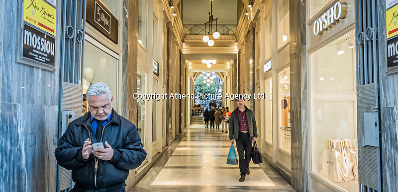 Pictured: An arcade in Ermou street.<br /> Re: Street photography, Athens, Greece. Thursday 27 February 2020