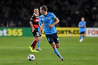 1st May 2021; Bankwest Stadium, Parramatta, New South Wales, Australia; A League Football, Western Sydney Wanderers versus Sydney FC; Alex Wilkinson of Sydney looks to distribute the ball as Mitch Duke of Western Sydney Wanderers closes