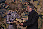 "Queen Letizia of Spain presents the ""TOMAS FRANCISCO PRIETO 2014 Award"" to Jaume Plensa at Zarzuela Palace in Madrid, Spain. April 30, 2015. (ALTERPHOTOS/Victor Blanco)"