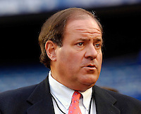 3 April 2006: Chris Berman, sportscaster for ESPN, chats with members of the Washington Nationals prior to the Opening Day game against the New York Mets at Shea Stadium, in Flushing, New York. The Mets defeated the Nationals 3-2 to lead off the 2006 MLB season...Mandatory Photo Credit: Ed Wolfstein Photo..