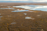 Geological feature of Polygons and tundra ponds in the Arctic National Wildlife Coastal plain in Alaska's Arctic.