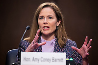 United States Supreme Court nominee Judge Amy Coney Barrett attends her confirmation hearing before the Senate Judiciary Committee in the Hart Senate Office Building in Washington, DC, USA, 14 October 2020.<br /> CAP/MPI/RS<br /> ©RS/MPI/Capital Pictures