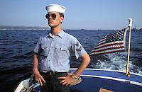 - US Navy sailor during NATO landing exercises at cape Teulada (Sardinia)....- marinaio dell'US Navy durante esercitazioni NATO di sbarco a Capo Teulada (Sardegna)