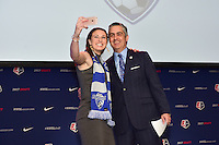 Los Angeles, CA - Thursday January 12, 2017: Morgan Andrews, NWSL Commissioner Jeff Plush during the 2017 NWSL College Draft at JW Marriott Hotel.