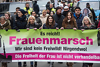 """Ca. 800 Menschen folgten am Samstag den 17. Februar 2018 in Berlin dem Aufruf der AfD-Frau Leyla Bilge zu einem sog. """"Marsch der Frauen"""". Sie demonstrierten gegen Zuwanderung und Fluechtlinge, die """"nur nach Deutschland kommen um hier Frauen zu schaenden"""" so einige Teilnehmer.<br /> Der rechte Aufmarsch wurde nach 750 Metern durch Strassenblockaden von ca. 2.000 Menschen gestoppt. Leyla Bilge weigerte sich als Anmelderin drei Stunden lang den blockierten  Aufmarsch zu beenden und forderte von der Polizei die Blockaden zu raeumen. Ein Raeumungsversuch der Polizei scheiterte, da es zu viele Menschen waren, die auf der Strasse sassen.<br /> Nach drei Stunden beendete Bilge den Aufmarsch. Die Demosntranten, unter ihnen etliche Neonazis, sog. """"Identitaere"""" und AfD-Politiker zogen darauf ab und griffen dabei Gegendemosntranten und Polizeibeamte an. Mehrere Personen wurden festgenommen. Ein Teil fuhr zum Kanzleramt, dem urspruenglichen Ziel des Aufmarsches.<br /> Im Bild 4.vl. am Transparent: Leyla Bilge. <br /> 17.2.2018, Berlin<br /> Copyright: Christian-Ditsch.de<br /> [Inhaltsveraendernde Manipulation des Fotos nur nach ausdruecklicher Genehmigung des Fotografen. Vereinbarungen ueber Abtretung von Persoenlichkeitsrechten/Model Release der abgebildeten Person/Personen liegen nicht vor. NO MODEL RELEASE! Nur fuer Redaktionelle Zwecke. Don't publish without copyright Christian-Ditsch.de, Veroeffentlichung nur mit Fotografennennung, sowie gegen Honorar, MwSt. und Beleg. Konto: I N G - D i B a, IBAN DE58500105175400192269, BIC INGDDEFFXXX, Kontakt: post@christian-ditsch.de<br /> Bei der Bearbeitung der Dateiinformationen darf die Urheberkennzeichnung in den EXIF- und  IPTC-Daten nicht entfernt werden, diese sind in digitalen Medien nach §95c UrhG rechtlich geschuetzt. Der Urhebervermerk wird gemaess §13 UrhG verlangt.]"""