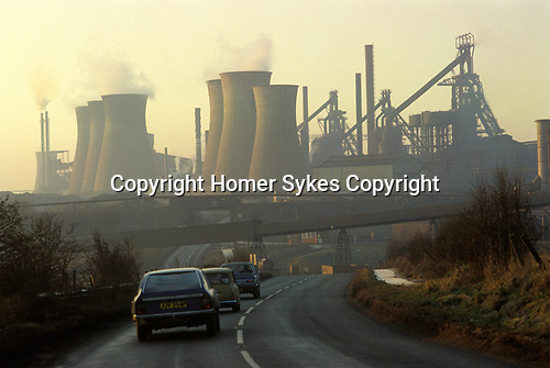 Scunthorpe, North Lincolnshire. 1981<br /> The Lyshagt's Steelworks.