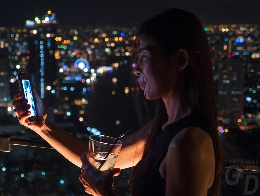Bangkok city at night, Thailand Thai Girl taken selfie