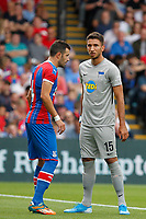 Marko Grujić of Hertha Berlin and Luka Milivojevic of Crystal Palace during the pre season friendly match between Crystal Palace and Hertha BSC at Selhurst Park, London, England on 3 August 2019. Photo by Carlton Myrie / PRiME Media Images.