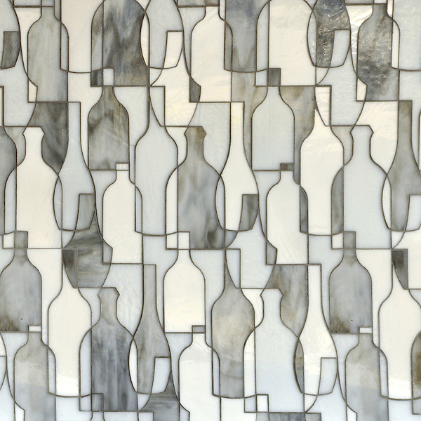 Bottles, a waterjet jewel glass mosaic shown in Moonstone, Opal and Tourmaline, is part of the Erin Adams Collection for New Ravenna Mosaics.