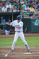 Ogden Raptors left fielder Jon Littell (48) at bat during a Pioneer League game against the Great Falls Voyagers at Lindquist Field on August 23, 2018 in Ogden, Utah. The Ogden Raptors defeated the Great Falls Voyagers by a score of 8-7. (Zachary Lucy/Four Seam Images)