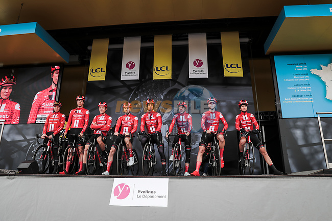 Team Sunweb on stage at the Team Presentation before the 78th edition of Paris-Nice 2020, Plaisir, France. 8th March 2020.<br /> Picture: ASO/Fabien Boukla | Cyclefile<br /> All photos usage must carry mandatory copyright credit (© Cyclefile | ASO/Fabien Boukla)