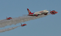 AirMalta Airbus in formation with Red Arrows on 28-09-2014.