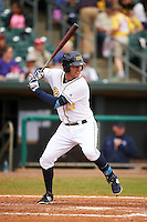 Montgomery Biscuits first baseman Patrick Leonard (20) at bat during a game against the Jackson Generals on April 29, 2015 at Riverwalk Stadium in Montgomery, Alabama.  Jackson defeated Montgomery 4-3.  (Mike Janes/Four Seam Images)