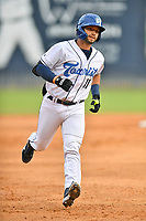 Asheville Tourists Cesar Salazar (11) rounds the bases after hitting a home run during a game against the Winston-Salem Dash on June 23, 2021 at McCormick Field in Asheville, NC. (Tony Farlow/Four Seam Images)