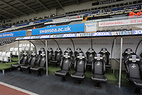 The dugout area during the Premier League match between Swansea City and Hull City at the Liberty Stadium, Swansea on Saturday August 20th 2016