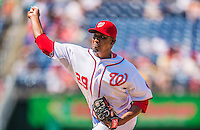 25 July 2013: Washington Nationals pitcher Rafael Soriano on the mound against the Pittsburgh Pirates at Nationals Park in Washington, DC. The Nationals salvaged the last game of their series, winning 9-7 ending their 6-game losing streak. Mandatory Credit: Ed Wolfstein Photo *** RAW (NEF) Image File Available ***