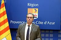 RENAUD MUSELIER, PRESIDENT DE LA REGION PROVENCE ALPES COTE D'AZUR, EN CONFERENCE DE PRESSE SUR LA RENTREE SCOLAIRE A MARSEILLE, FRANCE, LE 31/08/2017.