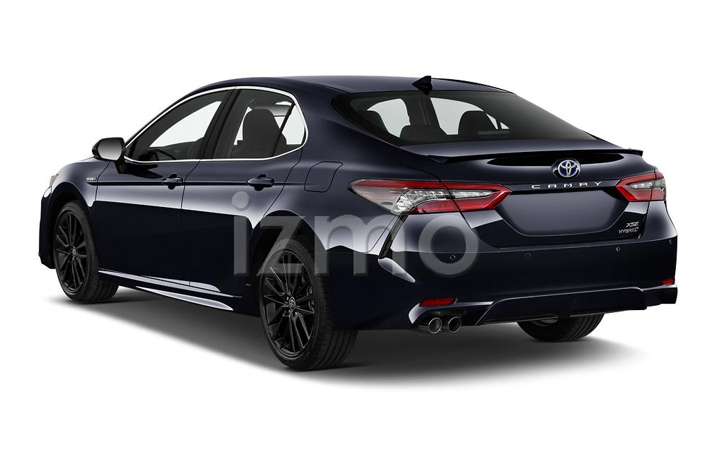 Car pictures of rear three quarter view of 2021 Toyota Camry-Hybrid XSE 4 Door Sedan Angular Rear