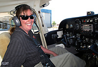 Pilot and mechanic Jennifer Foreman in her Cessna 172, Petaluma Municipal Airport, Petaluma, Sonoma County, California. Jennifer is a certified flight instructor, airframe and power plant mechanic with inspector authorization and has owned or been a partner in two helicopters.  She worked as a mechanic for Aeroventure.
