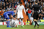 Real Madrid´s Pepe and Varane and Schakle 04 Huntelaar during Champions League soccer match at Santiago Bernabeu stadium in Madrid, Spain. March, 10, 2015. (ALTERPHOTOS/Caro Marin)