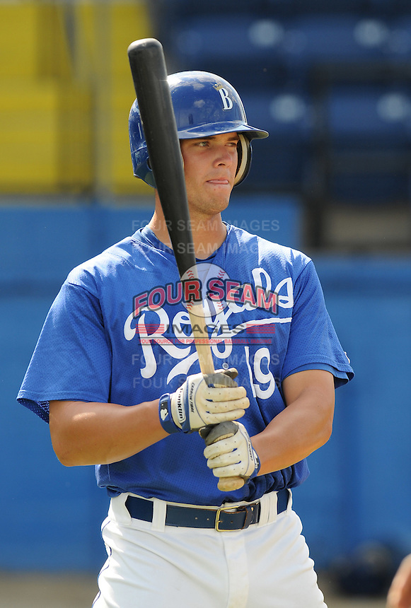 July 22, 2009: Catcher Travis Jones (19) of the Burlington Royals, rookie Appalachian League affiliate of the Kansas City Royals, prior to a game at Burlington Athletic Stadium in Burlington, N.C. Photo by: Tom Priddy/Four Seam Images