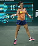 April 4,2018:   Lara Arruabarrena (ESP) loses to Madison Keys (USA) 6-1 in the first set at the Volvo Car Open being played at Family Circle Tennis Center in Charleston, South Carolina.  ©Leslie Billman/Tennisclix/CSM