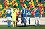 FK Trakai v St Johnstone…06.07.17… Europa League 1st Qualifying Round 2nd Leg, Vilnius, Lithuania.<br />Deividas Cesnauskis consoles Ally Gilchrist at full time<br />Picture by Graeme Hart.<br />Copyright Perthshire Picture Agency<br />Tel: 01738 623350  Mobile: 07990 594431