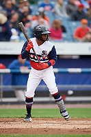 Syracuse Chiefs designated hitter Irving Falu (10) squares around to bunt during a game against the Scranton/Wilkes-Barre RailRiders on June 14, 2018 at NBT Bank Stadium in Syracuse, New York.  Scranton/Wilkes-Barre defeated Syracuse 9-5.  (Mike Janes/Four Seam Images)