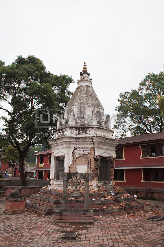 Destroyed structure of Pashupati Nath temple in Kathmandu, Nepal