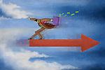 Illustrative image of businessman balancing himself on arrow representing management balance