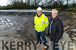 Tony Walsh with local builder Eamonn O'Connor standing at the site of the houses in Castleisland been build for his employees