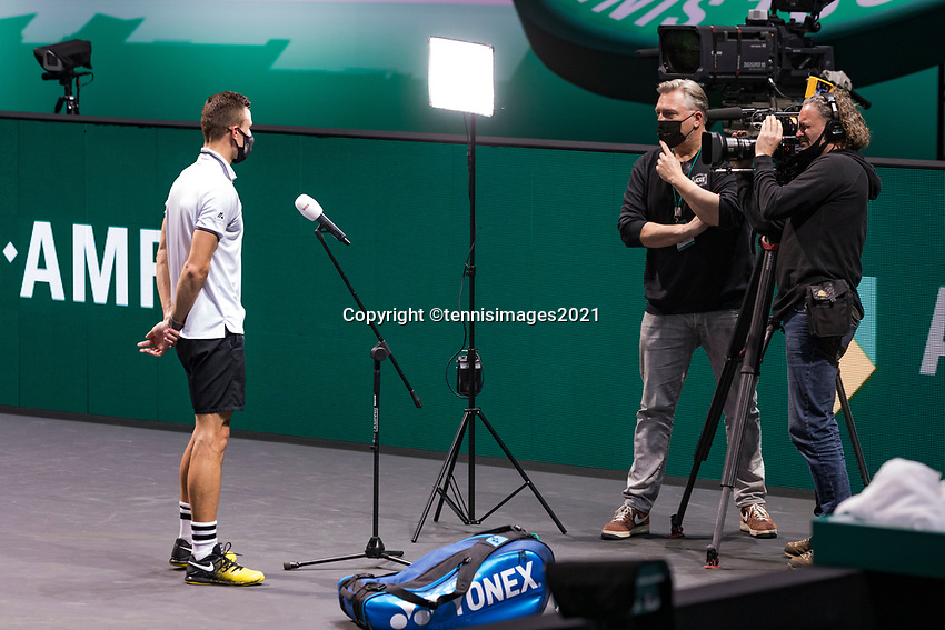 Rotterdam, The Netherlands,7 march  2021, ABNAMRO World Tennis Tournament, Ahoy,  <br /> Semi final: Marton Fucsovics (HUN) gives an interview.<br /> Photo: www.tennisimages.com/henkkoster