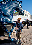 November 3, 2018 : A young fan poses for a photo with the Longines horse statue on Breeders Cup World Championships Saturday at Churchill Downs on November 3, 2018 in Louisville, Kentucky. Scott Serio/Eclipse Sportswire/CSM