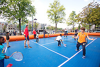 September 11, 2014, Netherlands, Amsterdam, Ziggo Dome, Davis Cup Netherlands-Croatia, Draw, Street tennis with Jan Siemerink(NED)<br /> Photo: Tennisimages/Henk Koster