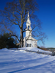 Winter view of a church in Phippsburg, Maine, USA