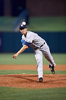 Colorado Springs Sky Sox relief pitcher Wei-Chung Wang (25) delivers a pitch during a game against the Oklahoma City Dodgers on June 2, 2017 at Chickasaw Bricktown Ballpark in Oklahoma City, Oklahoma.  Colorado Springs defeated Oklahoma City 1-0 in ten innings.  (Mike Janes/Four Seam Images)
