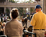 HALLANDALE BEACH, FL - FEBRUARY 04: Horse racing fans watching the horses in the walking ring. Scenes from Gulfstream Park, at Gulfstream Park, Hallandale Beach, FL. (Photo by Arron Haggart/Eclipse Sportswire/Getty Images)