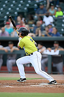 Designated hitter Brian Sharp (7) of the Columbia Fireflies bats in a game against the Augusta GreenJackets on Thursday, July 11, 2019 at Segra Park in Columbia, South Carolina. Columbia won, 5-2. (Tom Priddy/Four Seam Images)