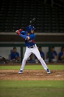 AZL Cubs second baseman Miguel Pabon (13) at bat during an Arizona League game against the AZL Brewers at Sloan Park on June 29, 2018 in Mesa, Arizona. The AZL Cubs 1 defeated the AZL Brewers 7-1. (Zachary Lucy/Four Seam Images)