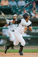 Louisville shortstop Anderson Machado (2) follows through on his swing versus Charlotte at Louisville Slugger Field in Louisville, KY, Wednesday, June 6, 2007.