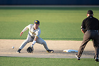 Michigan Wolverines shortstop Benjamin Sems (2) waits for a throw at second during the NCAA baseball tournament against the Connecticut Huskies on June 4, 2021 at Frank Eck Stadium in Notre Dame, Indiana. The Huskies defeated the Wolverines 6-1. (Andrew Woolley/Four Seam Images)