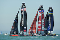 Oracle Team USA, JULY 23, 2016 - Sailing: Oracle Team USA leads Emirates Team New Zealand and Artemis Racing during day one of the Louis Vuitton America's Cup World Series racing, Portsmouth, United Kingdom. (Photo by Rob Munro/Stewart Communications)