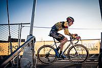 Ingmar Uytdewilligen (Bel/Tarteletto-Isorex) racing over the cycle bridge<br /> <br /> 2020 Urban Cross Kortrijk (BEL)<br /> men's race<br /> <br /> ©kramon
