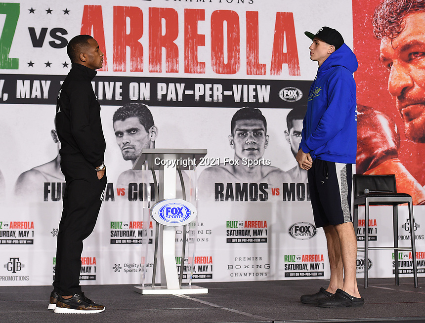 LOS ANGELES, CA - APRIL 29: Erislandy Lara (L) and Thomas LaManna attend the undercard press conference for the Andy Ruiz Jr. vs Chris Arreola Fox Sports PBC Pay-Per-View in Los Angeles, California on April 29, 2021. The PPV fight is on May 1, 2021 at Dignity Health Sports Park in Carson, CA. (Photo by Frank Micelotta/Fox Sports/PictureGroup)