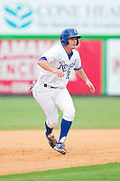 Andrew Ayers (18) of the Burlington Royals takes his lead off of second base against the Elizabethton Twins at Burlington Athletic Park on August 11, 2013 in Burlington, North Carolina.  The Twins defeated the Royals 12-5.  (Brian Westerholt/Four Seam Images)