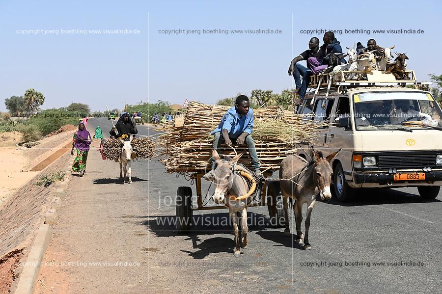NIGER, village Namaro, rural transport, people go to the market by donkey cart and mini bus / Dorf Namaro, Transport zum Markt